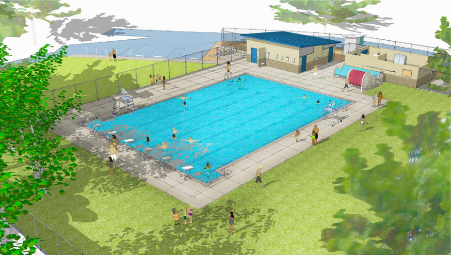 Rendering of redesign of Ambrose Park pool.