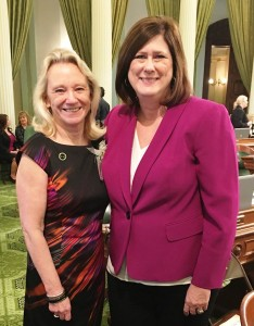 Collette Carroll with Assemblywoman Susan Bonilla on Assembly floor, Monday, March 14, 2016. courtesy of Susan Bonilla's Facebook page.