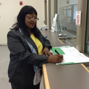 Filing her papers at the County Elections Office on Wednesday, March 9th, 2016.
