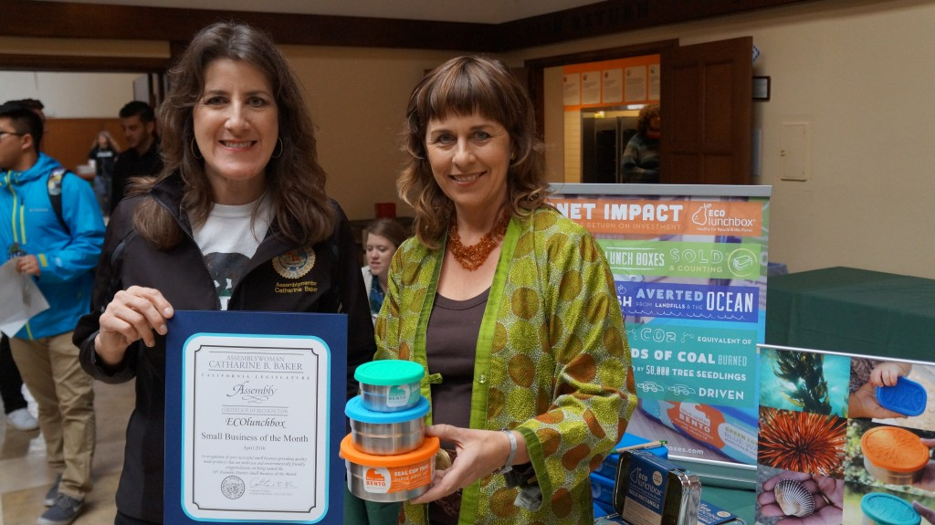 State Assemblywoman Catharine Baker presents her Business of the Month honor to ECOlunchbox owner Sandra Ann Harris.