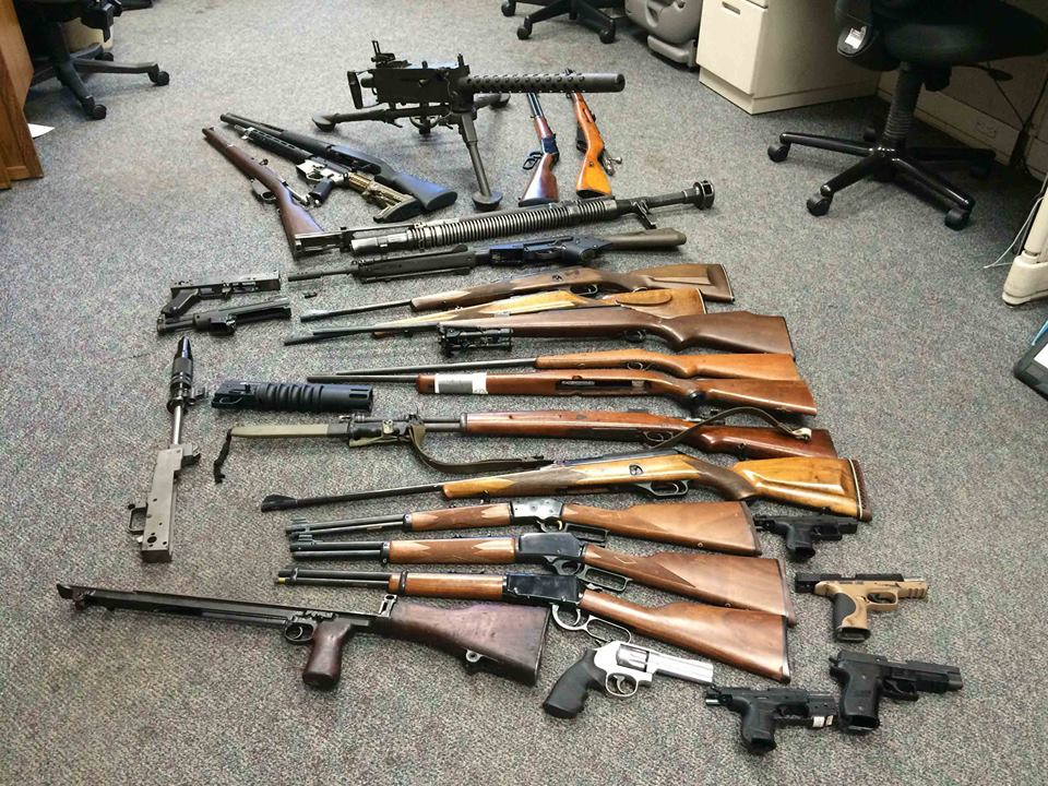 A machine gun was among the many guns seized from a home in Crockett by the Contra Costa Sheriffs CASE team in a May raid.