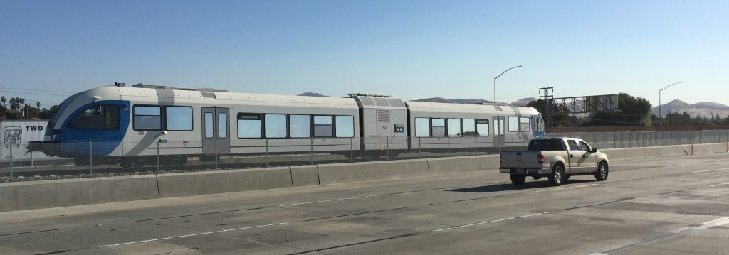 A two-car eBART train undergoes testing in the middle of Highway 4 between Hillcrest Avenue and A Street/Lone Tree Way on Friday evening, July 1st. photo by Allen Payton