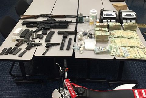 Guns, drugs and cash seized from Antioch home on Thursday. photo courtesy Office of Contra Costa County Sheriff.