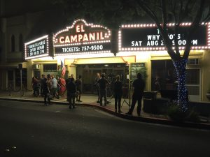 Shooting outside scenes at El Campanil Theatre.