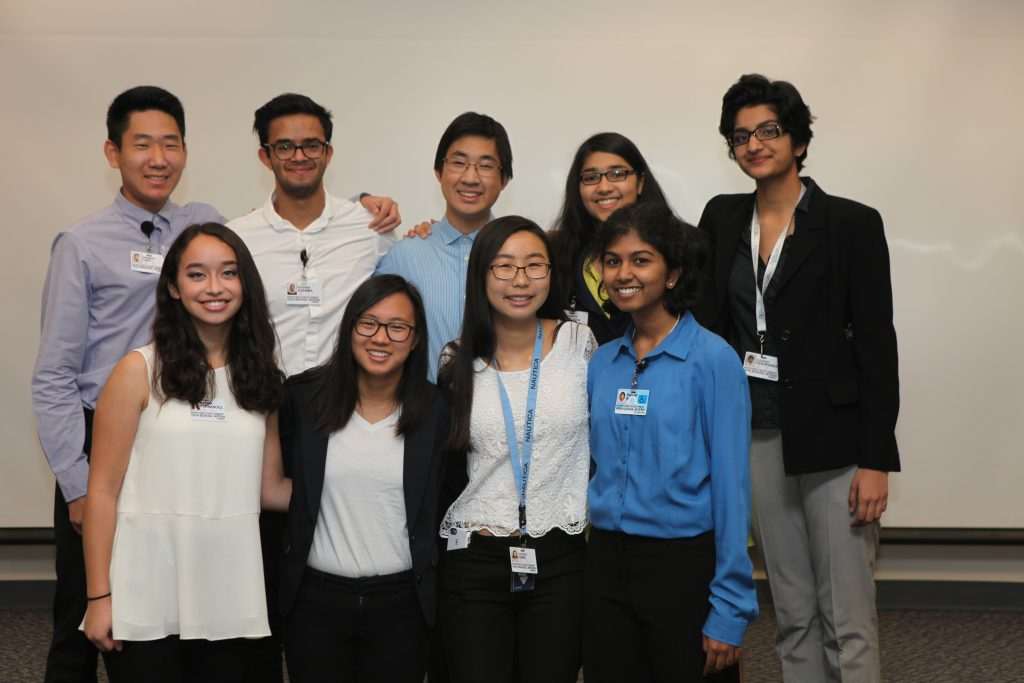 Intern Group 1, Back Row (L-R): Saadhana Deshpande, Kaanan Goradia, Justin Chang, Eeshan Sharma, Andrew Cho. Front Row (L-R): Harini Rajan, Kaileigh Yang, Christina Alejandrino, Marina Fernandez