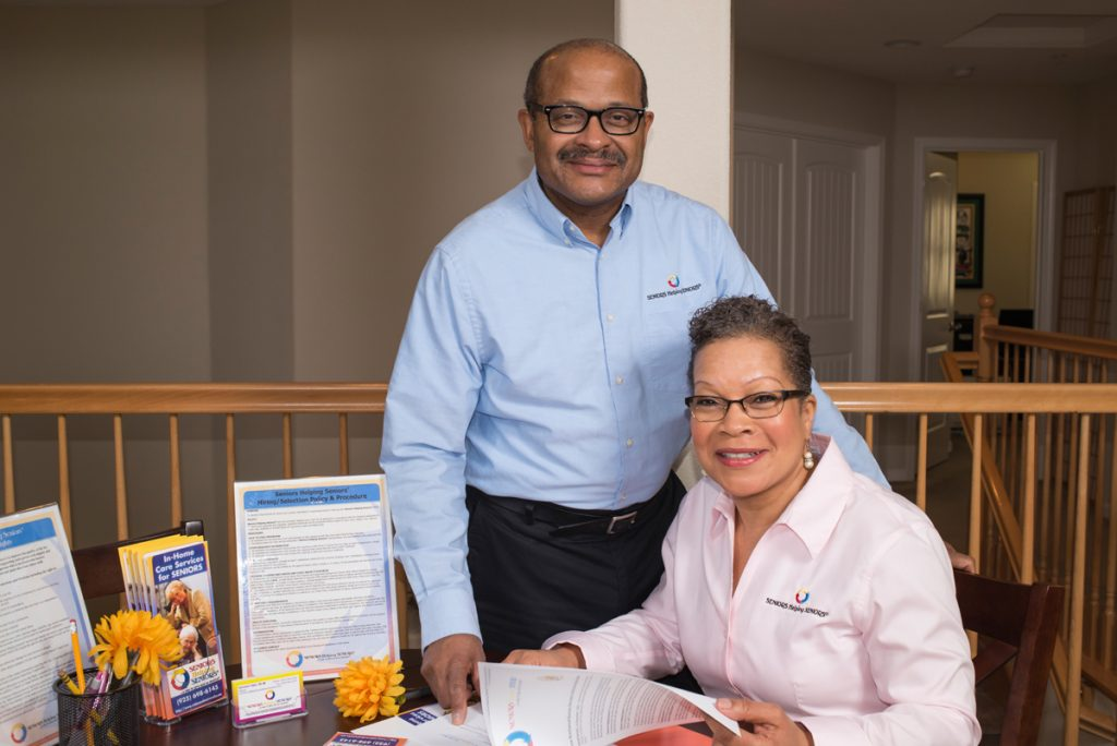 James and Constance Tolbert, owners of the Seniors Helping Seniors franchise in Concord, Clayton and East County, in their Bay Point office.