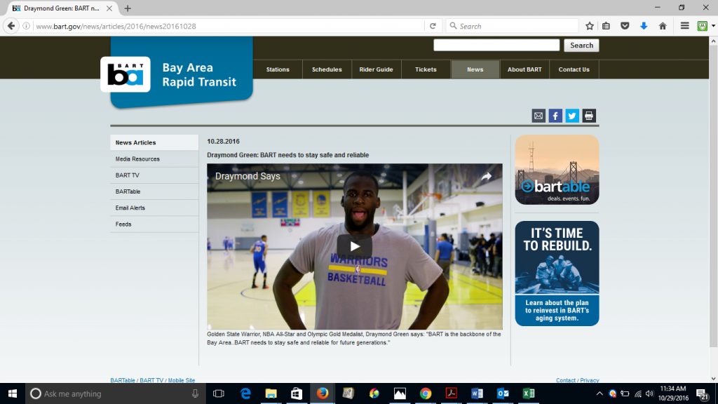 Screenshot of an ad featuring the Warriors' Draymond Green supporting BART submitted as evidence for the complaint.
