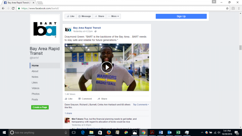 BART Facebook page with the Draymond Green ad.