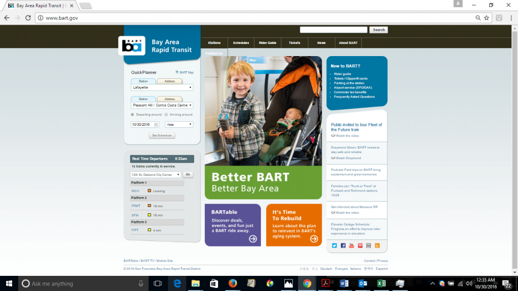 "Screenshot of BART's homepage featuring the phrase ""Better BART."""