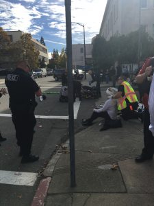 Emergency personnel treat one of the victims of the hit and run. Photo by Angrett Davies