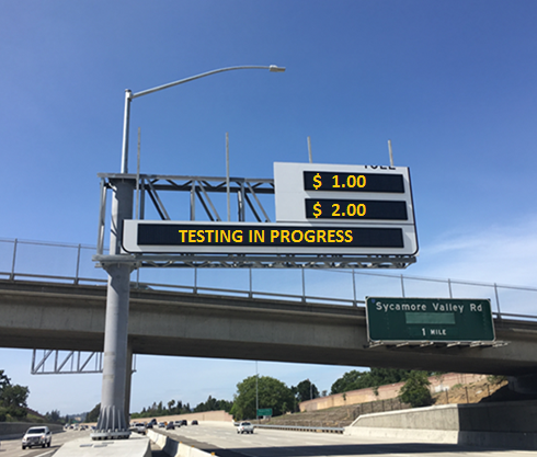 Mock-up of messages to be displayed on electronic signs for toll system testing during nighttime lane closures. Photo courtesy of MTC.