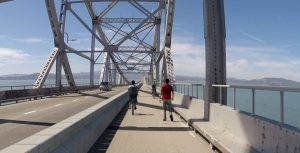 Artist's rendering of the planned bicycle/pedestrian path on the Richmond-San Rafael Bridge. courtesy of MTC.