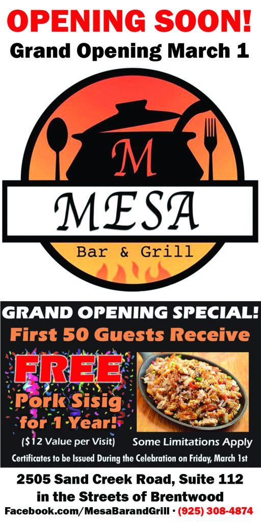 Mesa Bar & Grill AH & CCH Online Ad